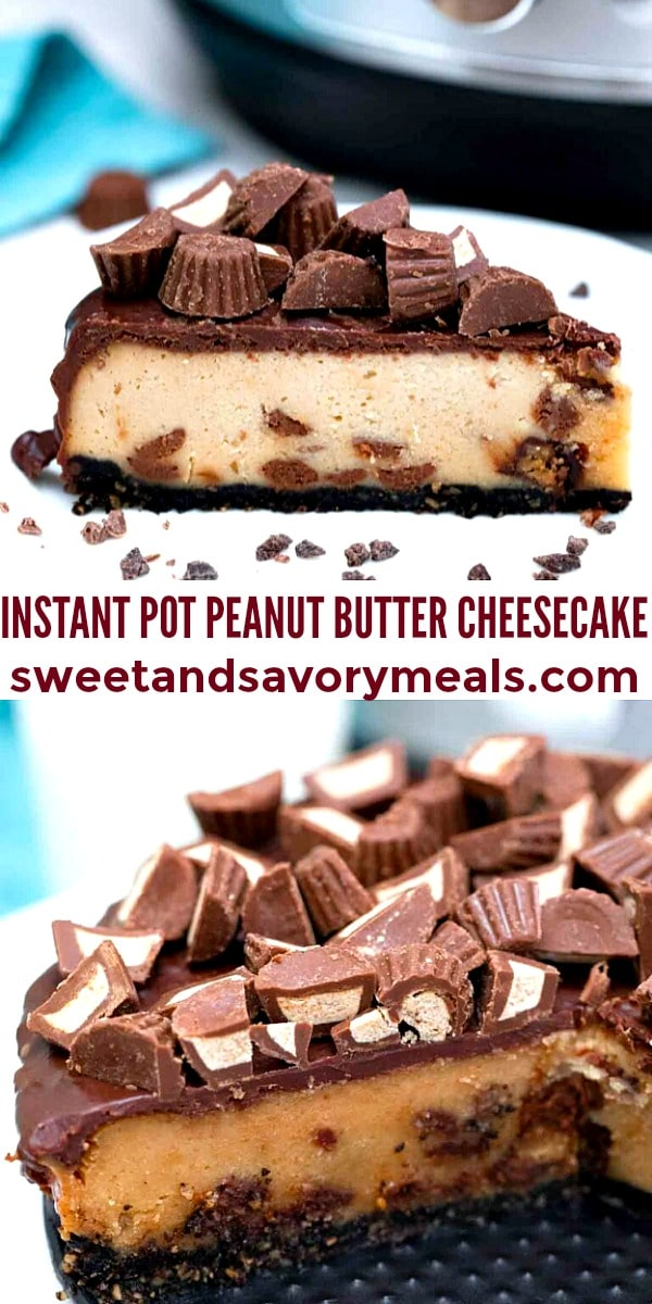 easy instant pot peanut butter cheesecake pin