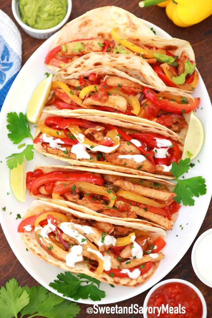 chicken fajitas on a serving plate