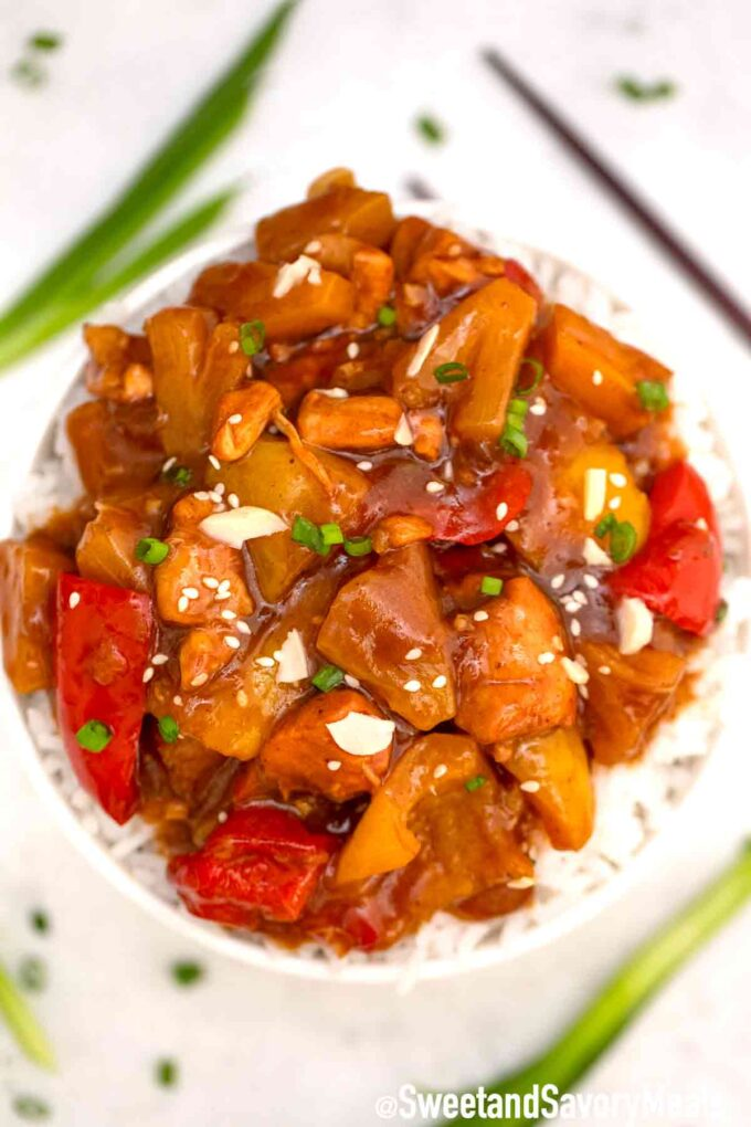 slow cooker Hawaiian chicken with rice