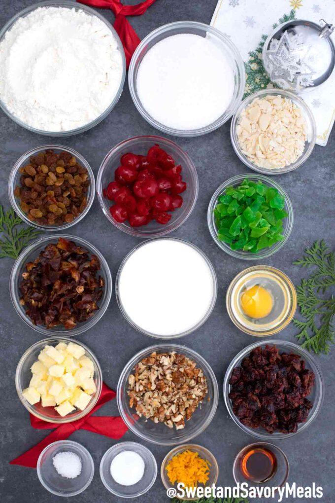 fruit cake ingredients