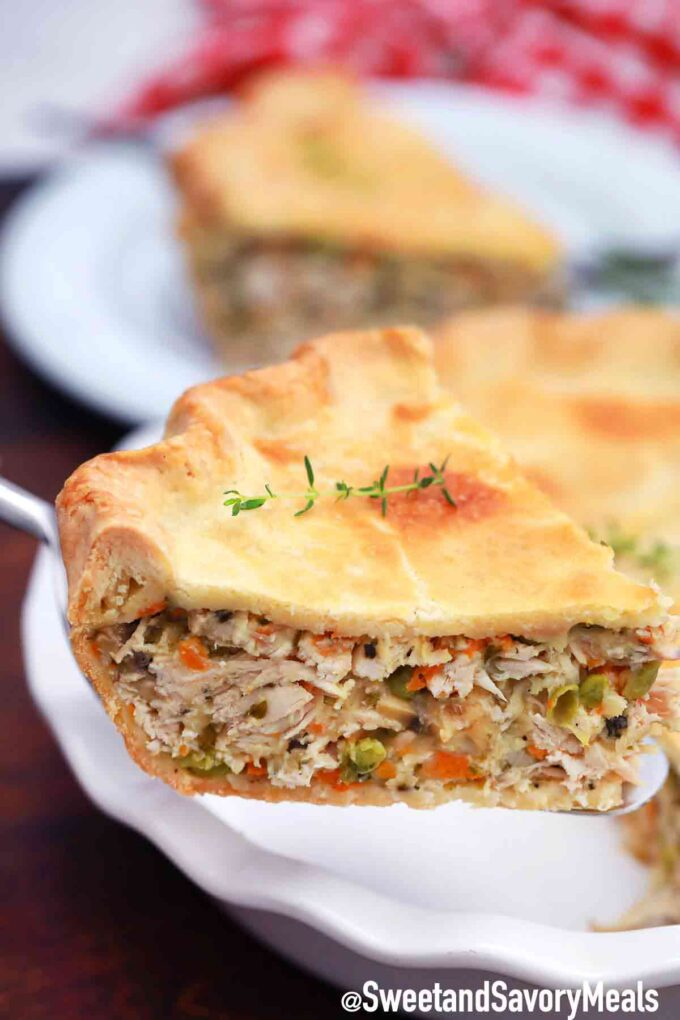 serving turkey pot pie