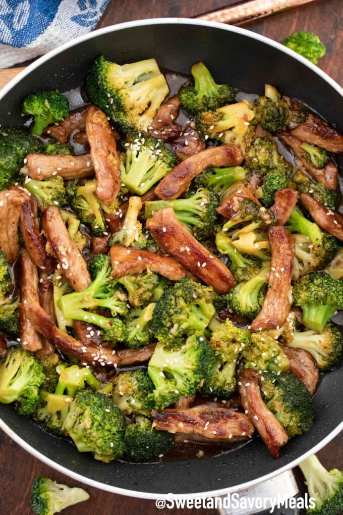 Panda Express beef and broccoli in a pan