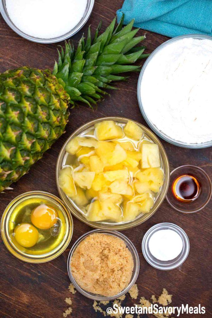 Zutaten für Ananaskuchen