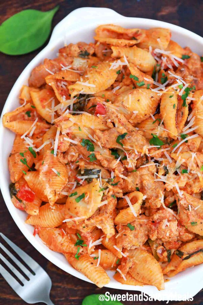 spicy sausage pasta with spinach