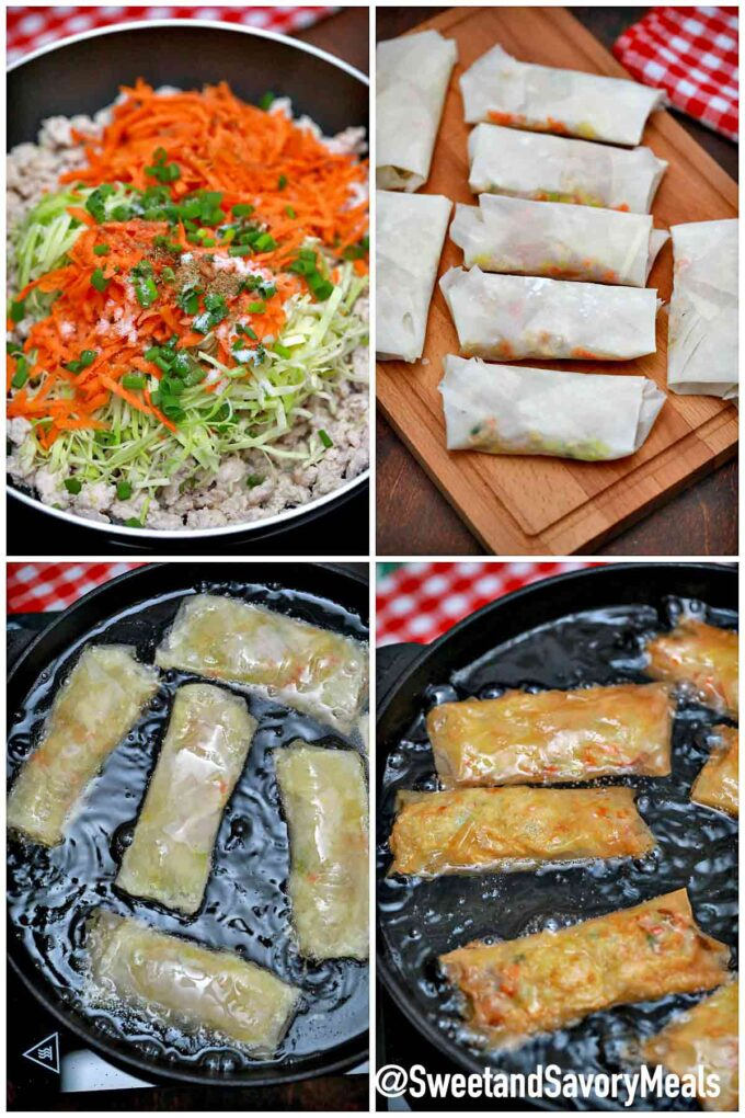 steps how to make Panda Express chicken egg rolls