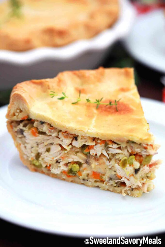 turkey pot pie slice