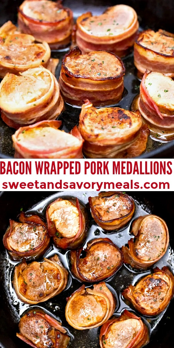 easy bacon wrapped pork medallions pin