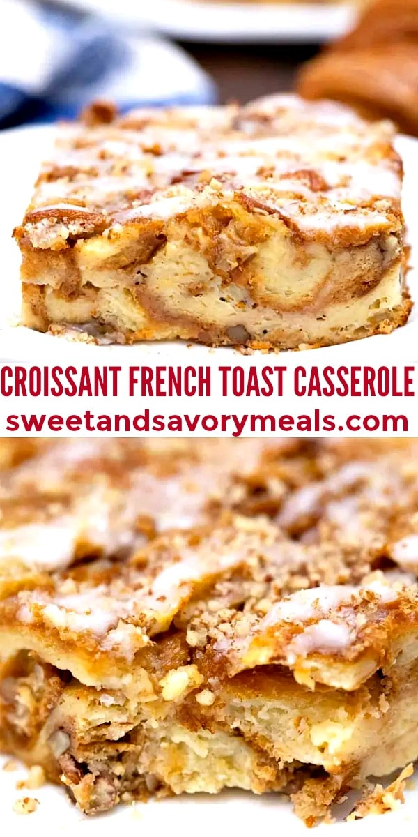 easy croissant french toast casserole pin