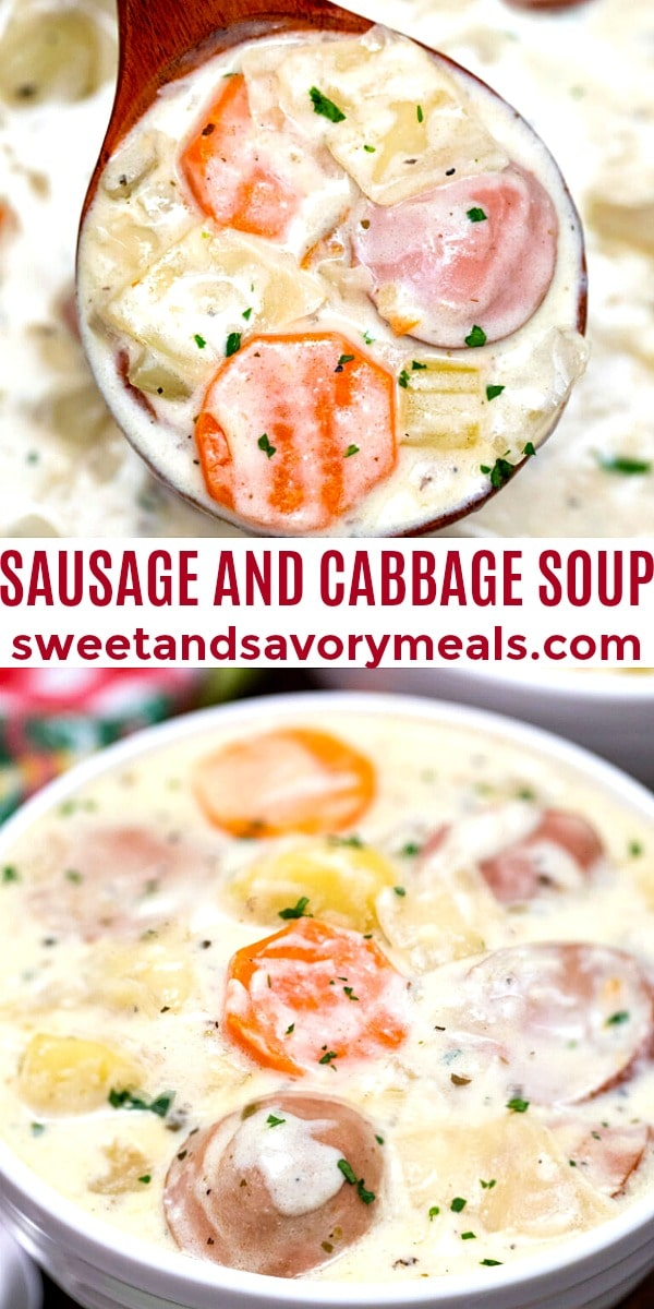 easy sausage and cabbage soup pin