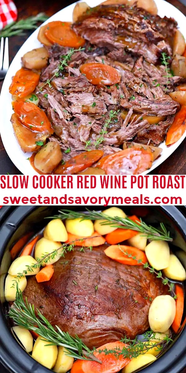 easy slow cooker red wine pot roast pin