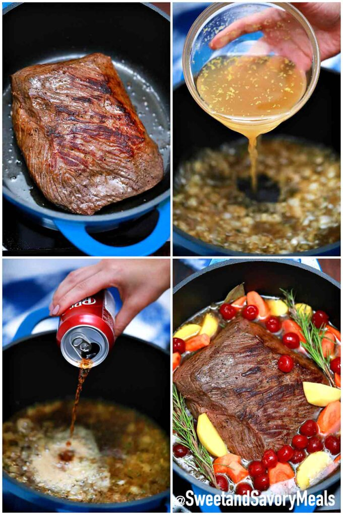 steps how to make Dr. pepper pot roast