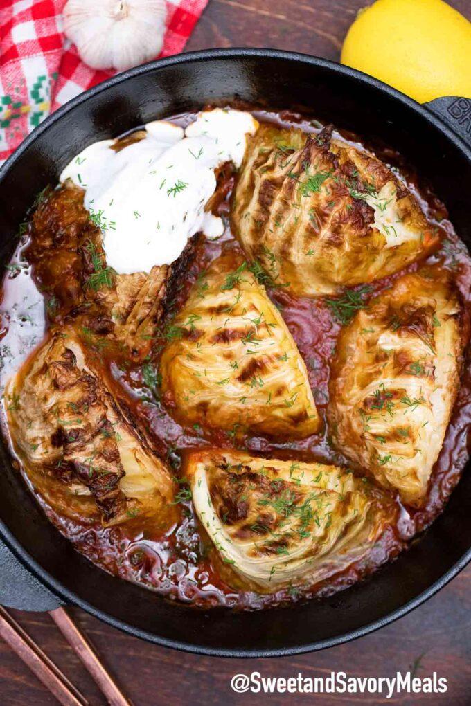 cast iron caramelized cabbage
