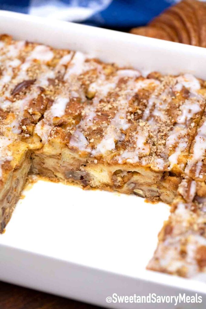 croissant French toast casserole slice