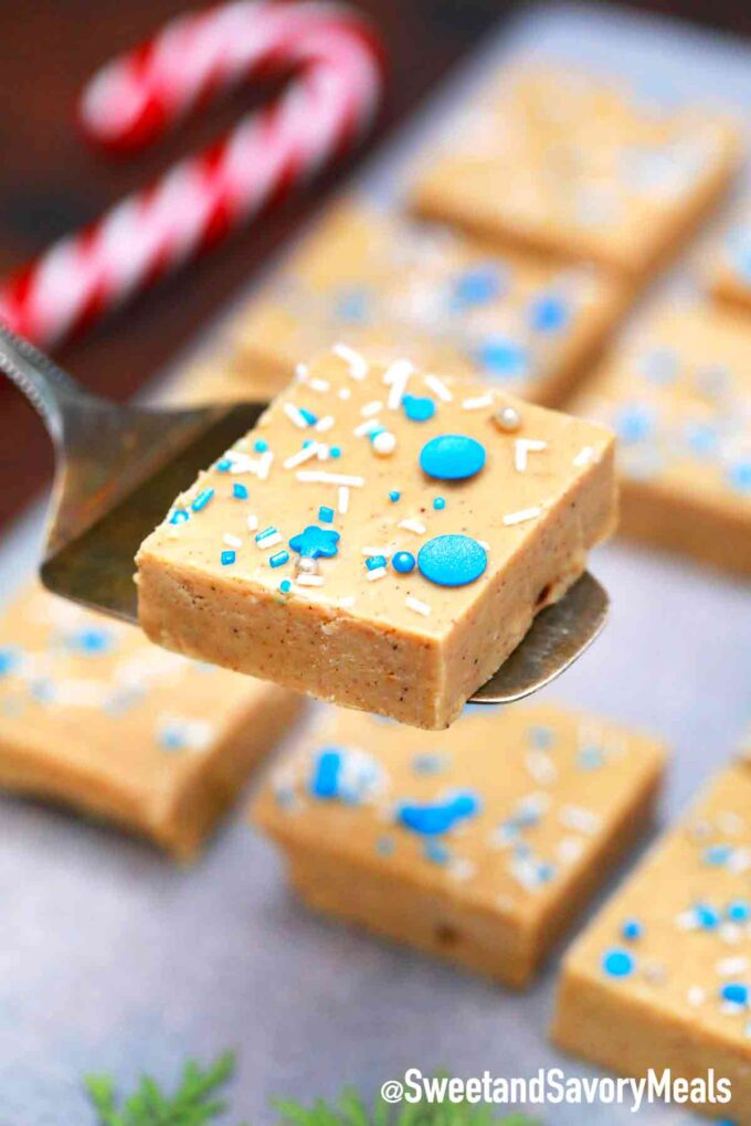 gingerbread fudge with sprinkles