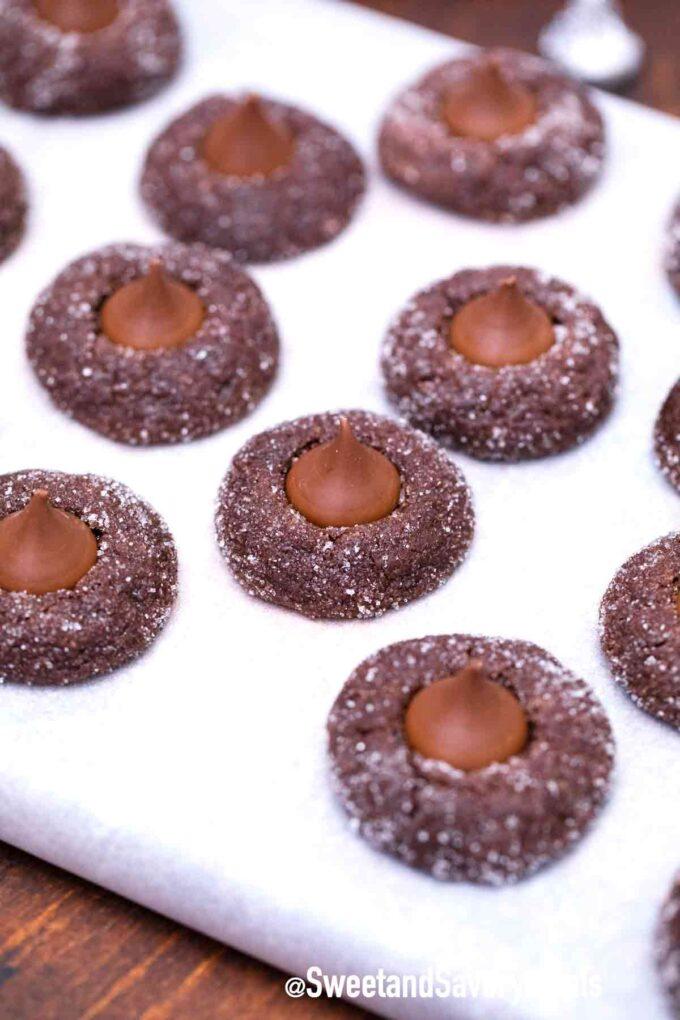 chocolate Hershey kiss cookies on a tray
