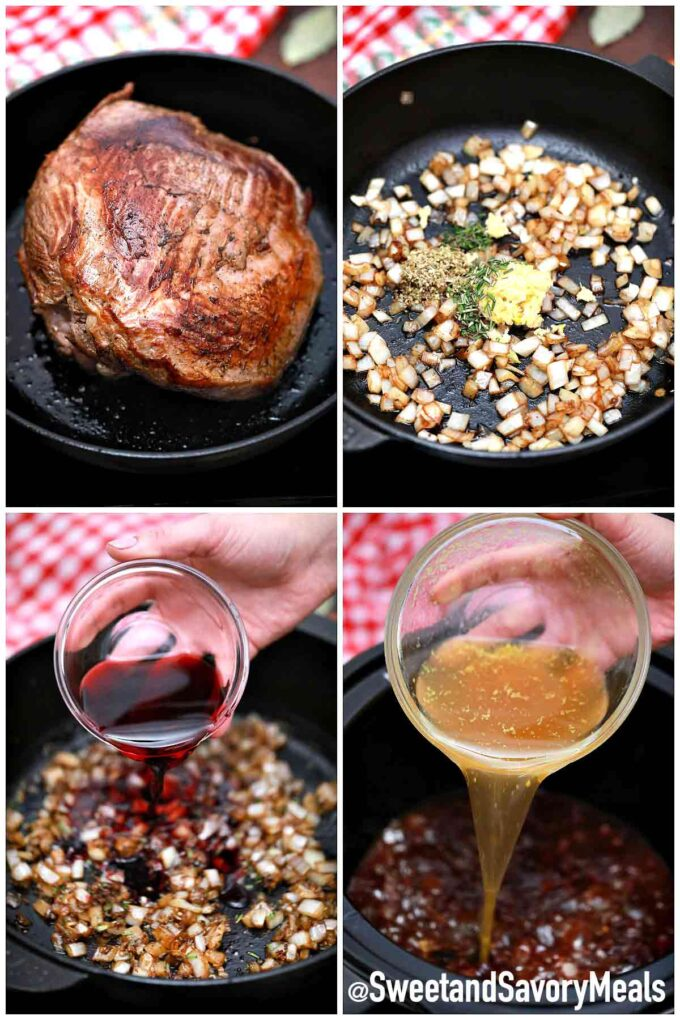 steps how to make slow cooker red wine pot roast