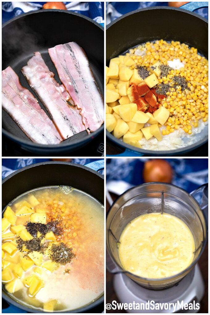 steps how to make creamy corn soup