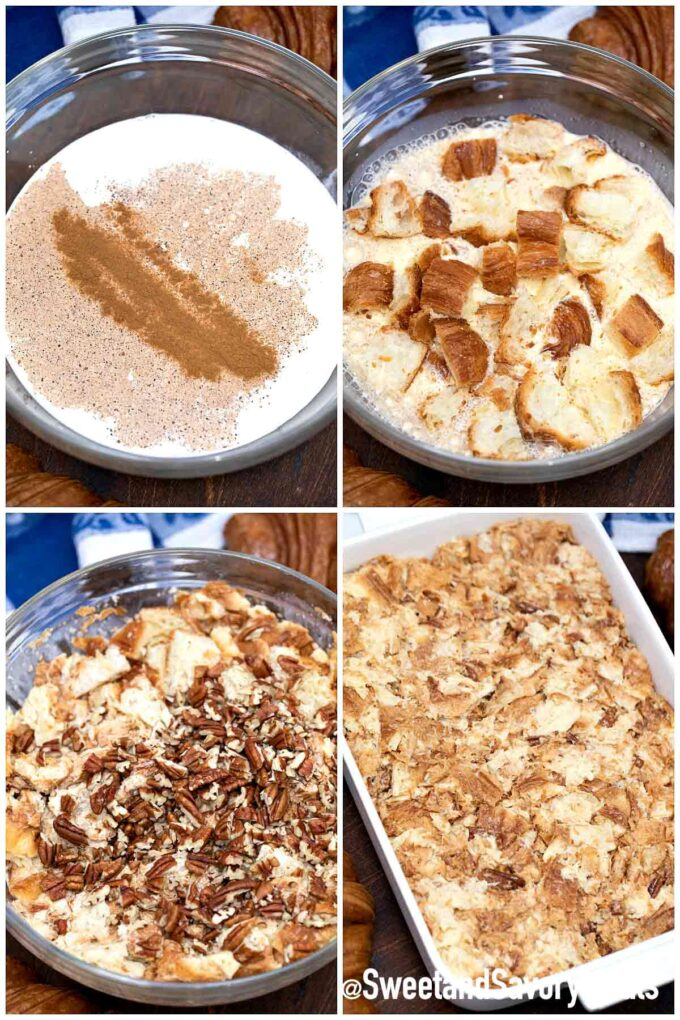 steps how to make croissant French toast casserole