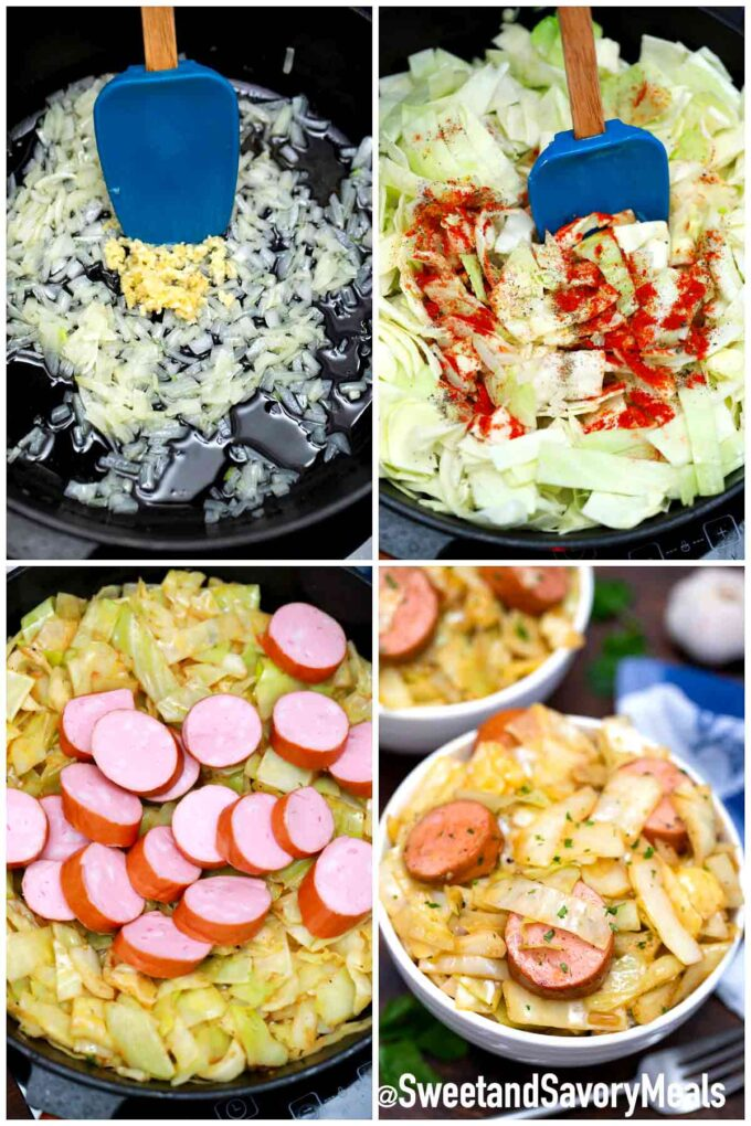 steps how to make fried cabbage and sausage