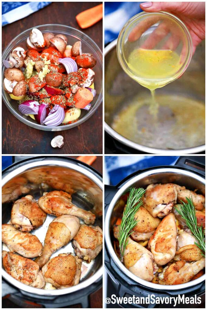steps how to make instant pot chicken and vegetables