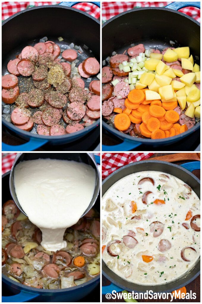 steps how to make sausage and cabbage soup