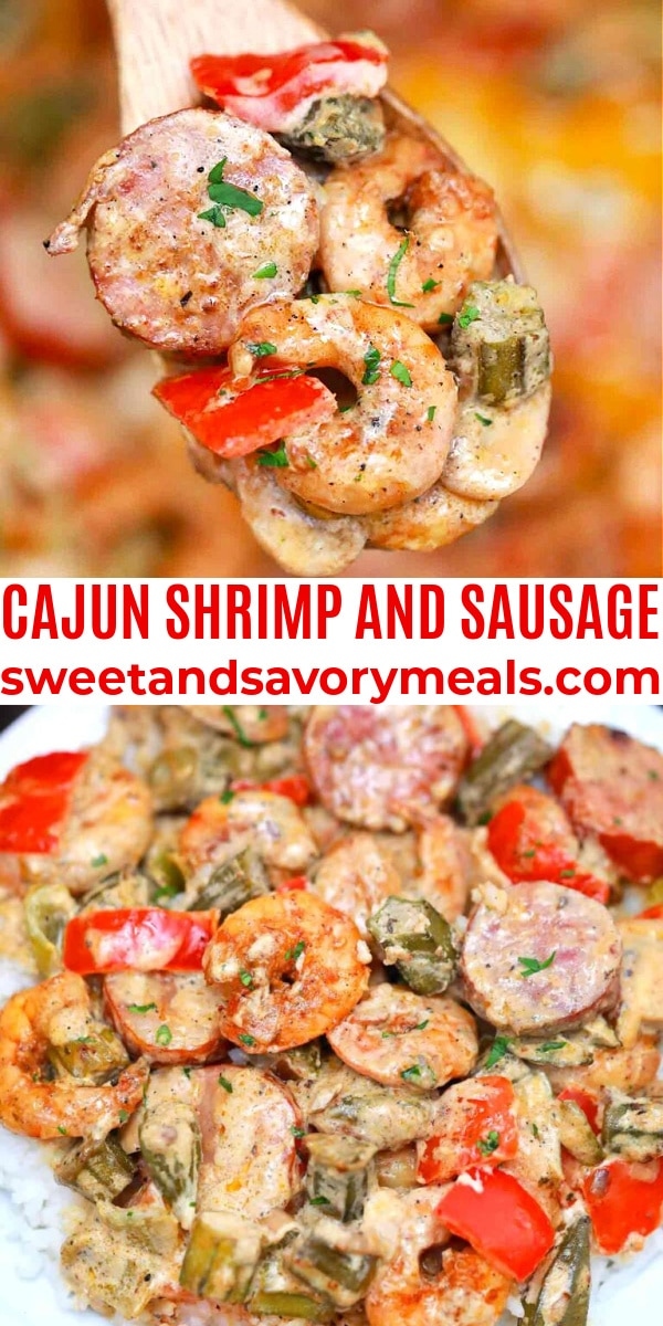 easy cajun shrimp and sausage pin