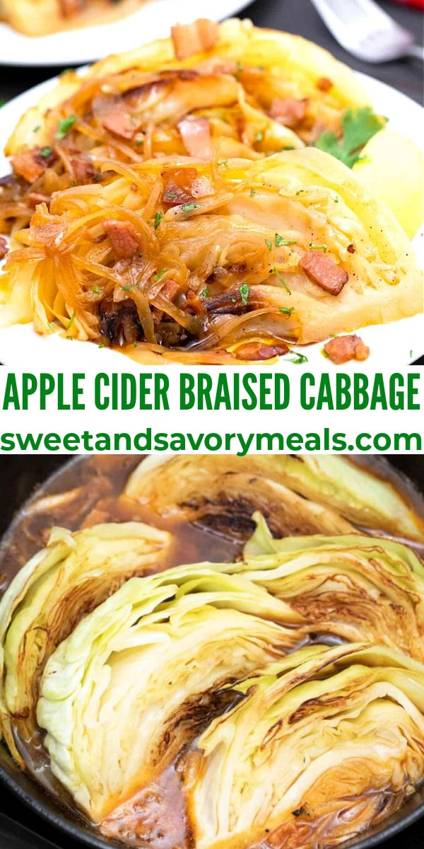 easy apple cider braised cabbage pin