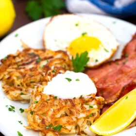 cabbage hash browns with eggs and bacon