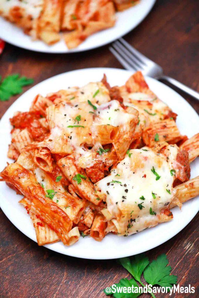 cheesy baked pasta in marinara sauce