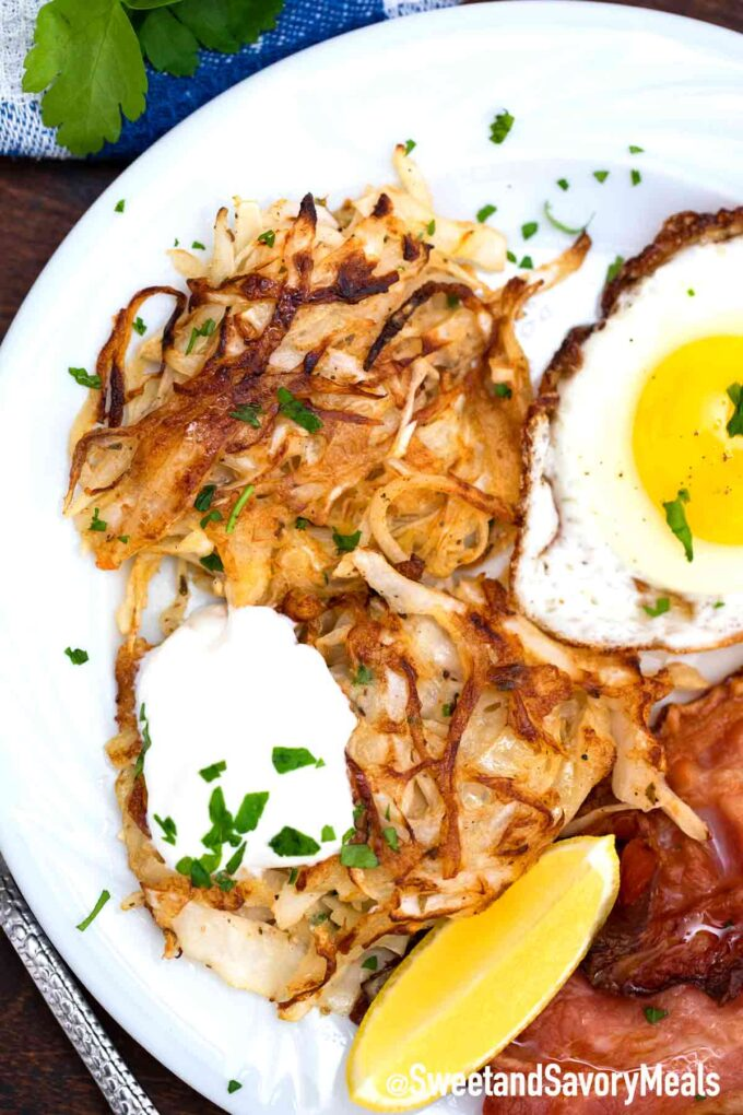 cabbage hash browns with eggs