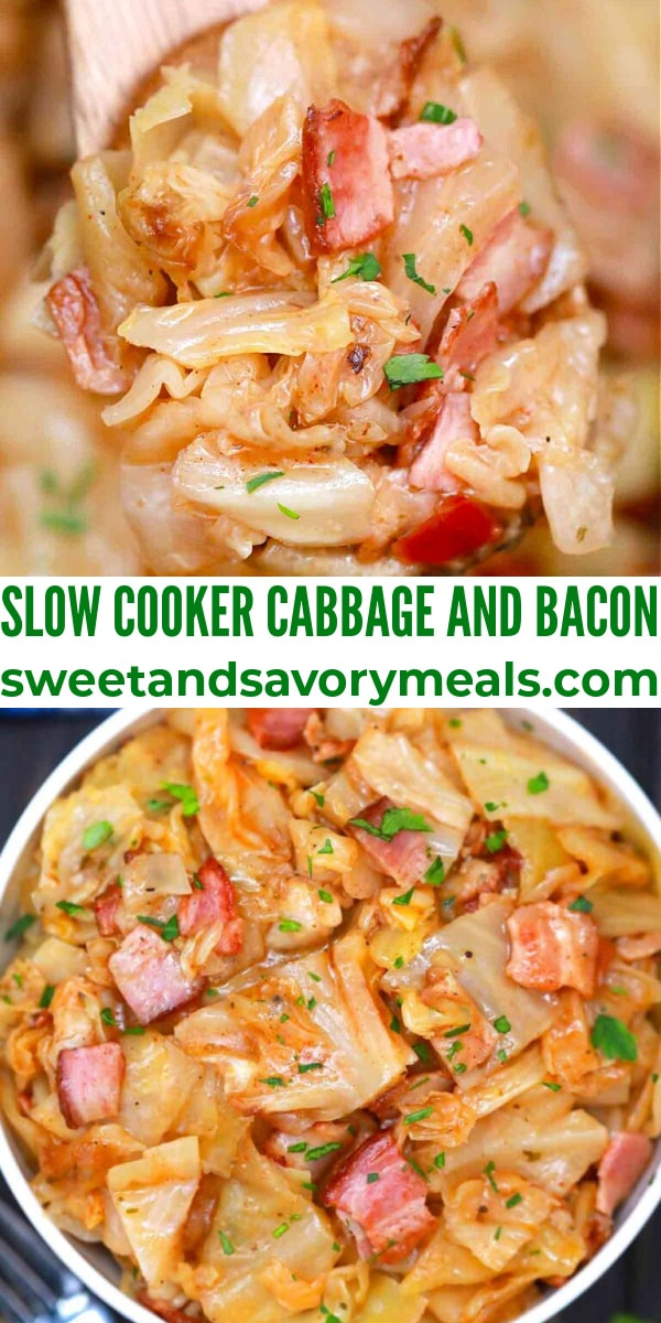 easy crockpot cabbage and bacon pin