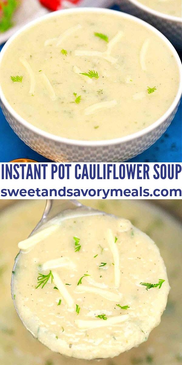 easy instant pot cauliflower soup pin