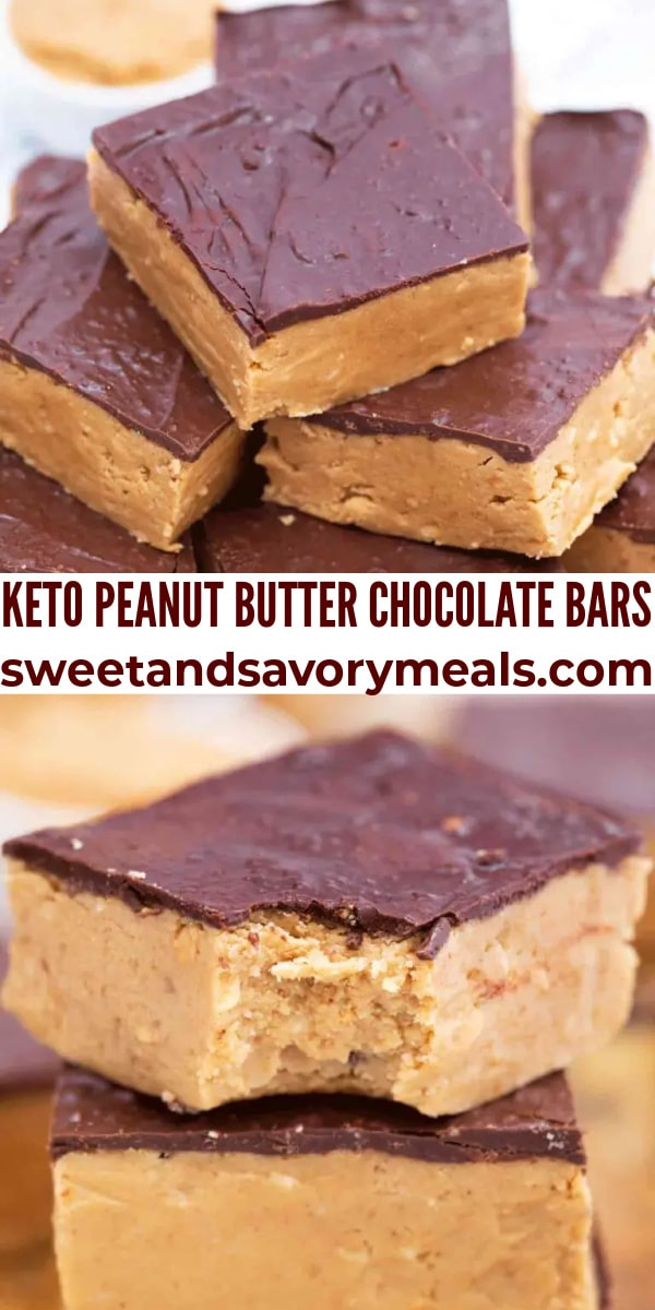 easy keto chocolate peanut butter bars pin