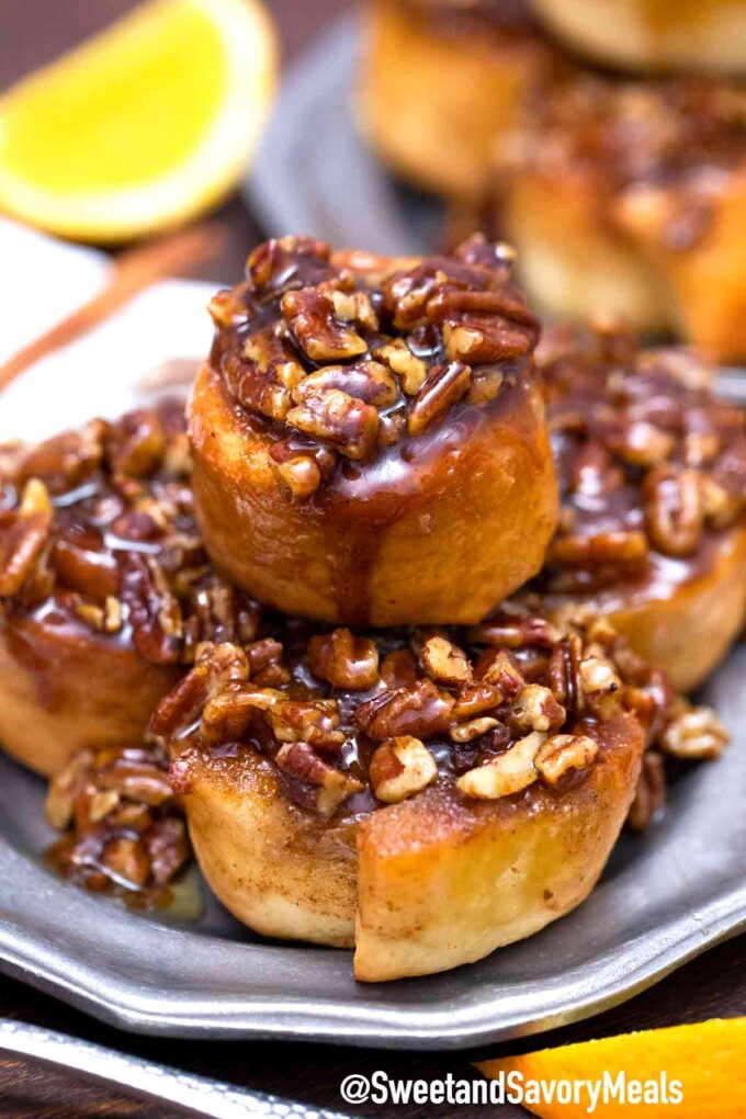 sticky buns on a plate