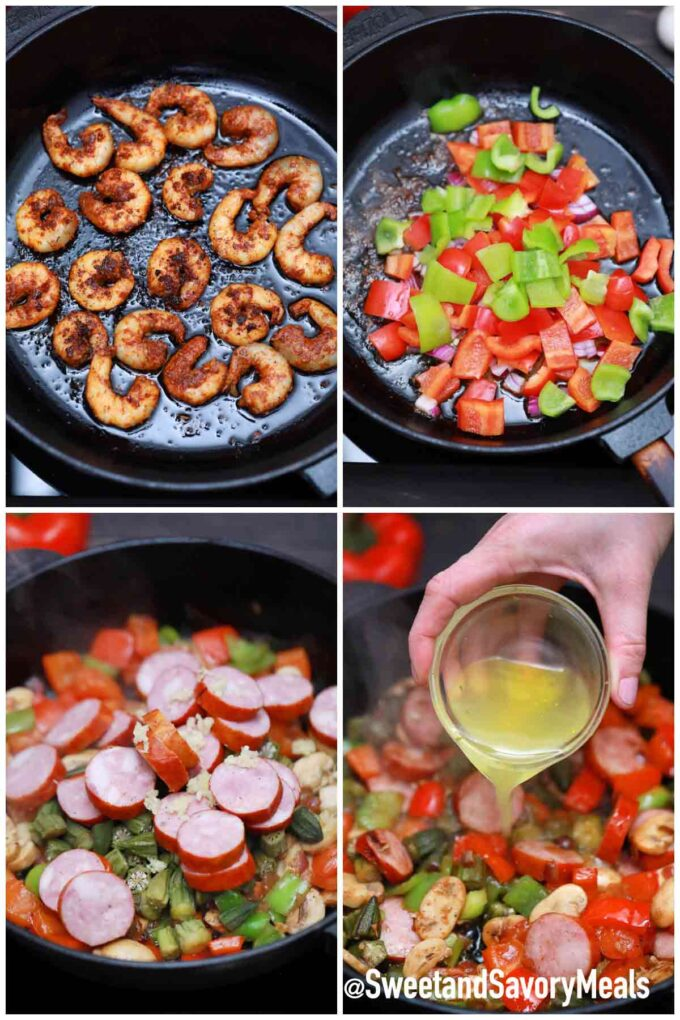 steps how to make cajun shrimp and sausage