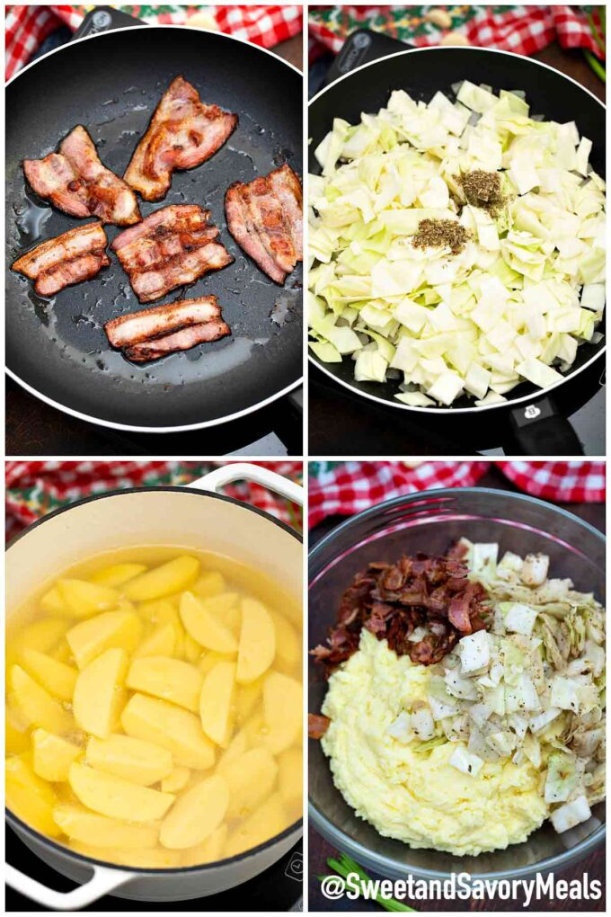 steps how to make Irish colcannon recipe