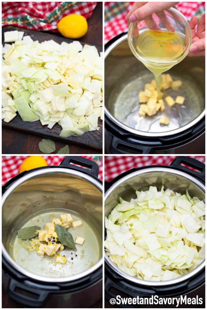 steps how to make instant pot buttered cabbage