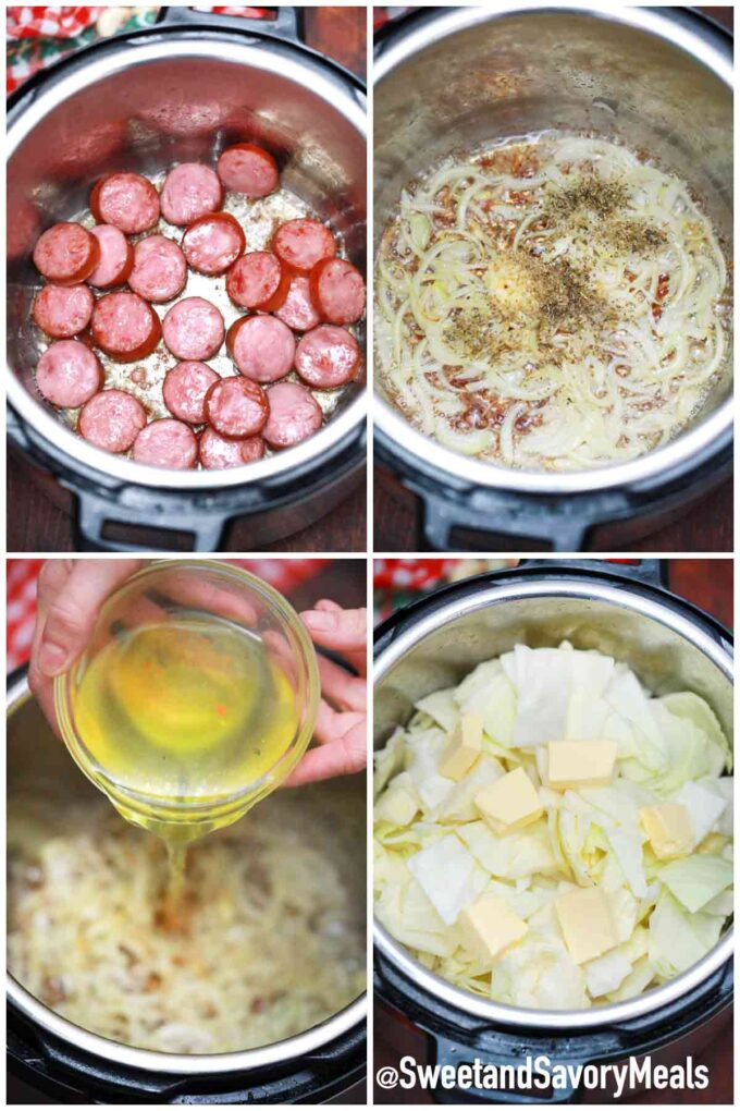 steps how to make instant pot cabbage and sausage