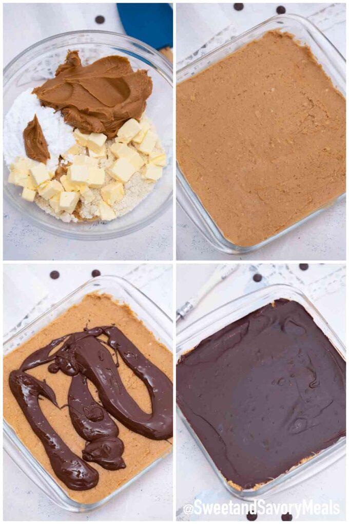 steps how to make keto chocolate peanut butter bars