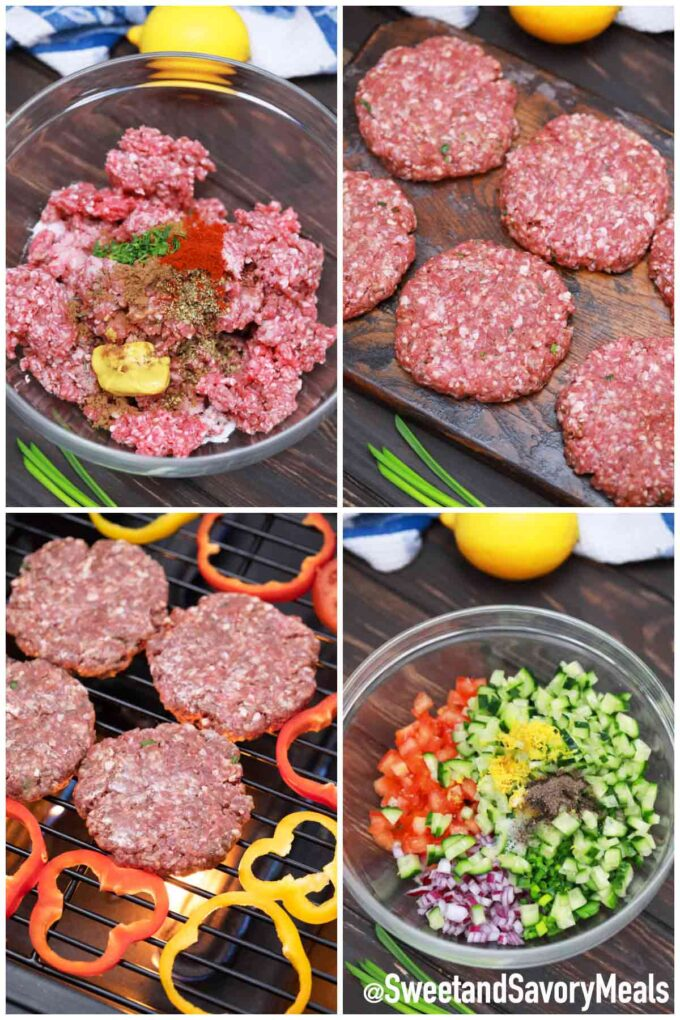 steps how to make lamb burgers