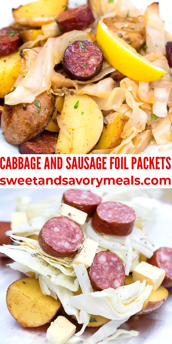 easy cabbage and sausage foil packets pin
