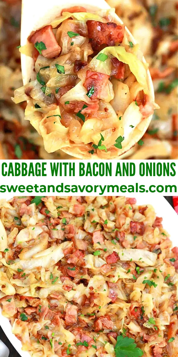 easy cabbage with bacon and onions pin