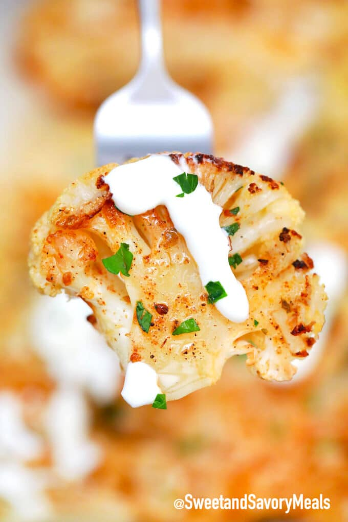 cauliflower steaks with white sauce