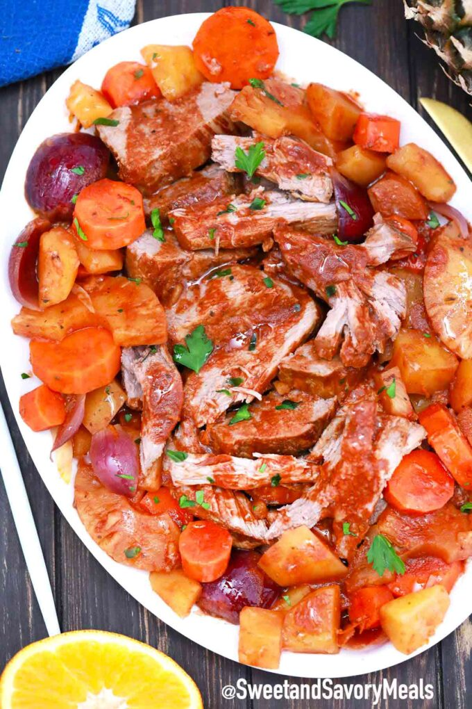 slow cooker carribean pot roast on a plate