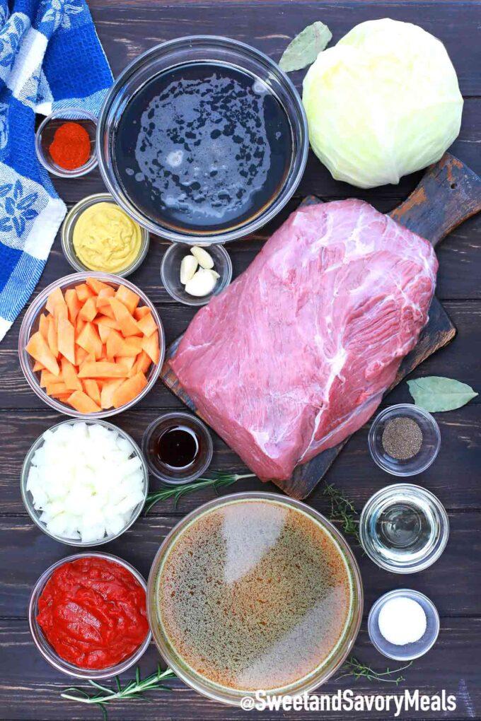 German pot roast ingredients on a table