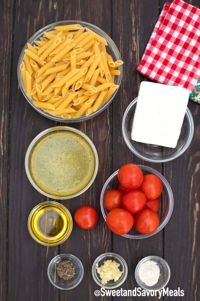 instant pot feta pasta ingredients on a table