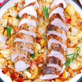 pork tenderloin with cabbage in a pan