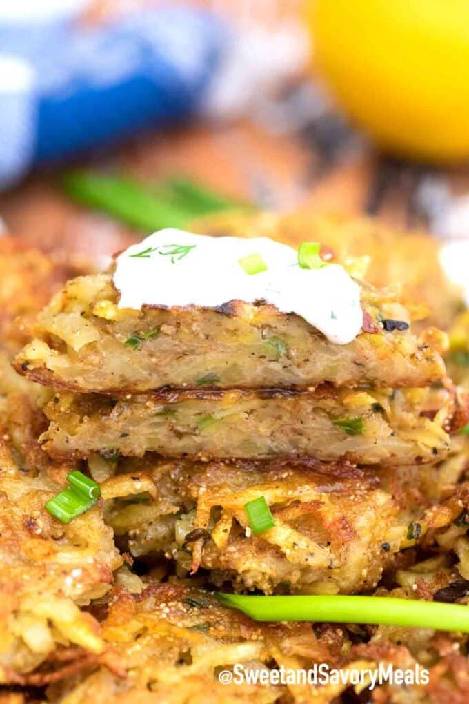 crispy potato latkes interior