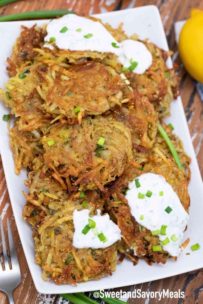 crispy potato latkes on a plate