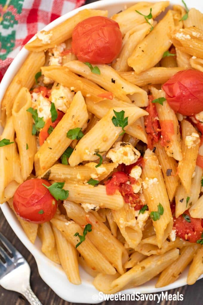 instant pot feta pasta on a plate